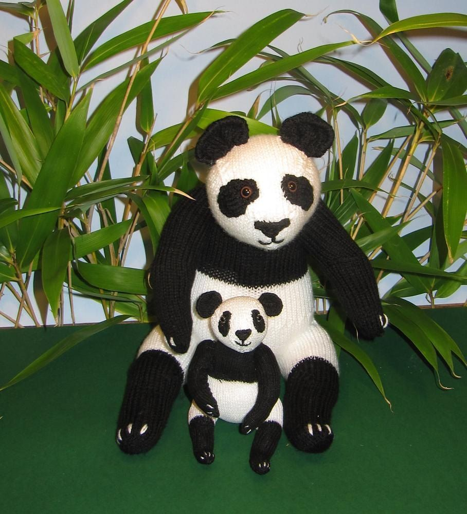 Mother and Baby Panda Toy Animals   Knitting patterns, Panda and Toy