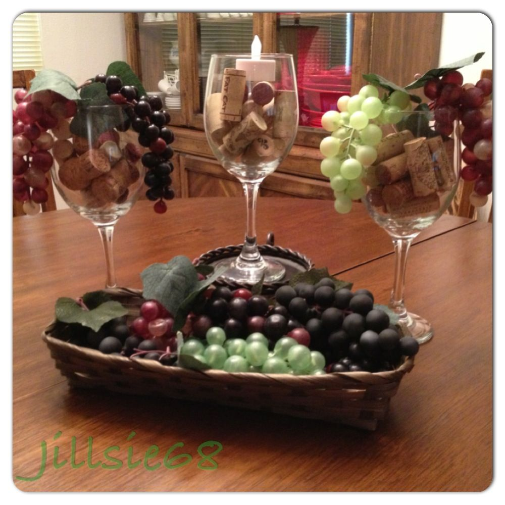 Dollar tree wine themed decorations just added wine for Wine themed centerpieces