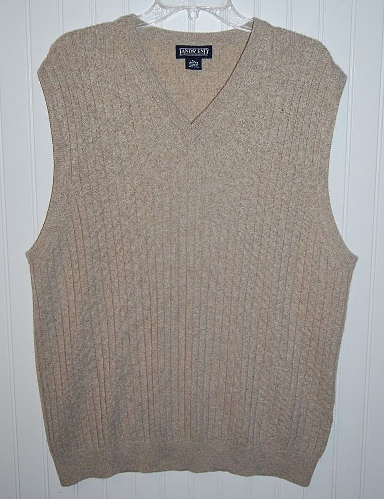 Lands End Men's XL 46-48 Cashmere Tan Sweater Vest V Neck ...