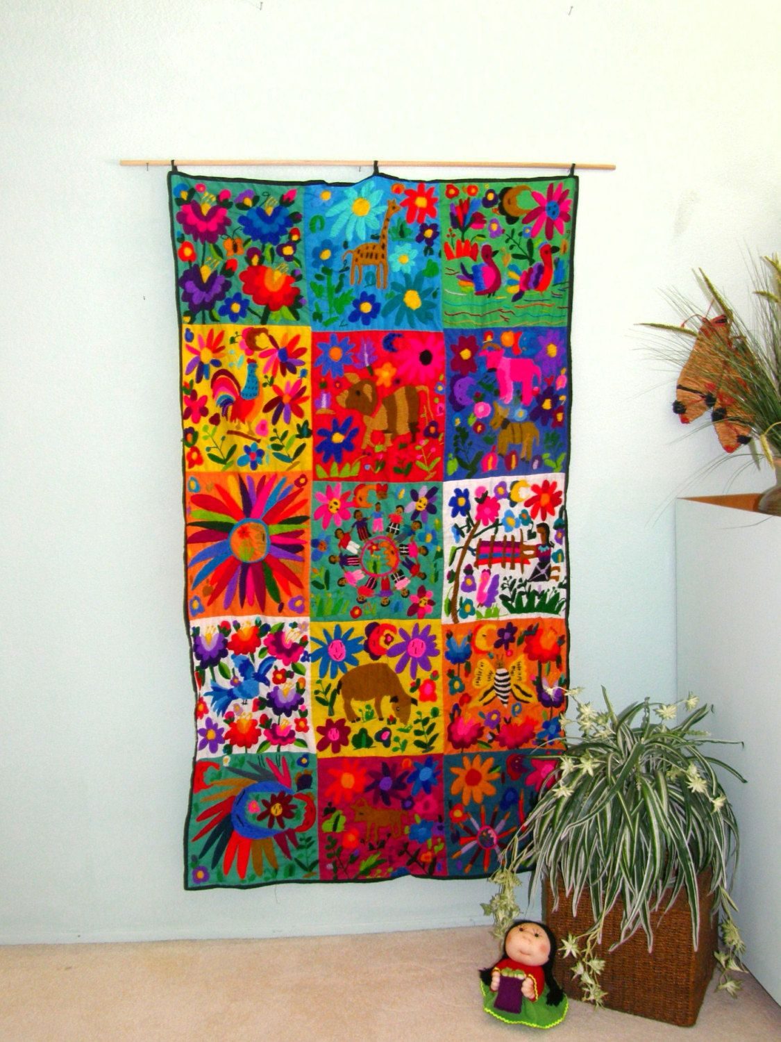 Hand embroidered mexican wall hanging folk art