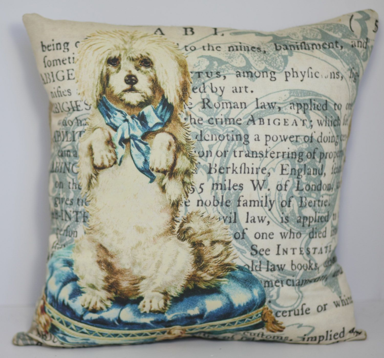 Vintage French Pillow Poodle on Dictionary by ElliottHeathDesigns
