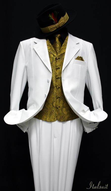 White-Gold 3pc Fashion Zoot Suit $210 | The Zoot Suit | Pinterest ...