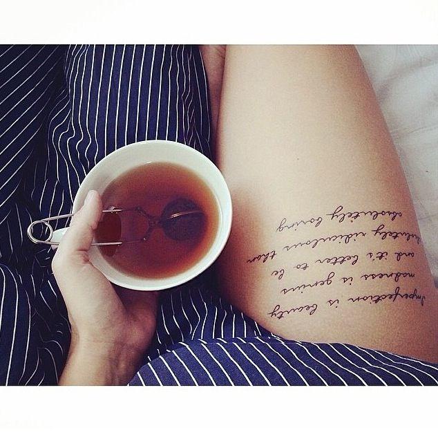 #tattoo #thigh #script