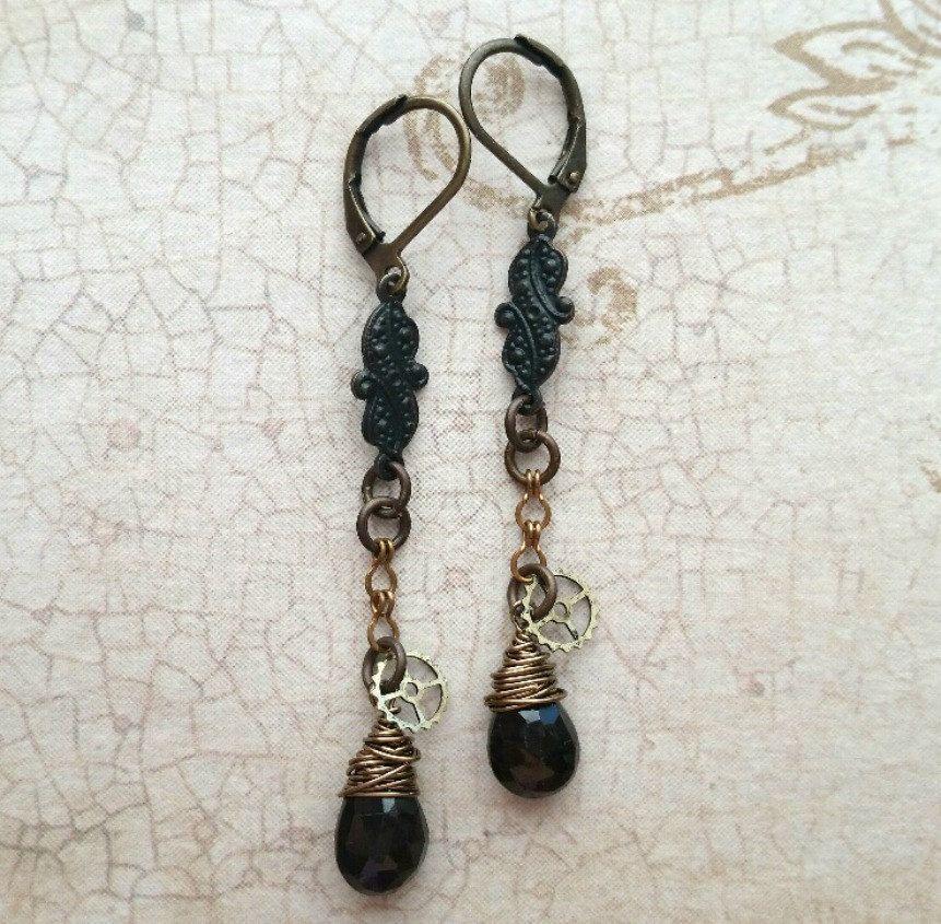 Garnet Earrings, Garnet Jewelry, Garnet Drop Earrings, Garnet Tear Drops, Drop Earrings, Gemstone Earrings, Garnet Dangles, Garnet and Brass - pinned by pin4etsy.com