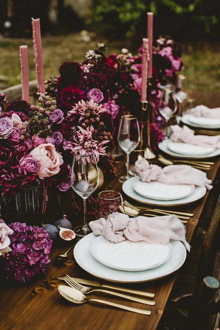 Photo of Wedding decoration in berry tones