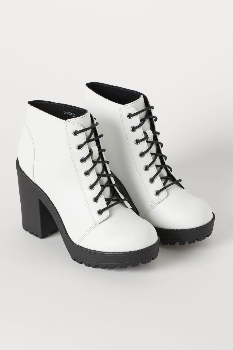 Platform Ankle Boots - White/faux