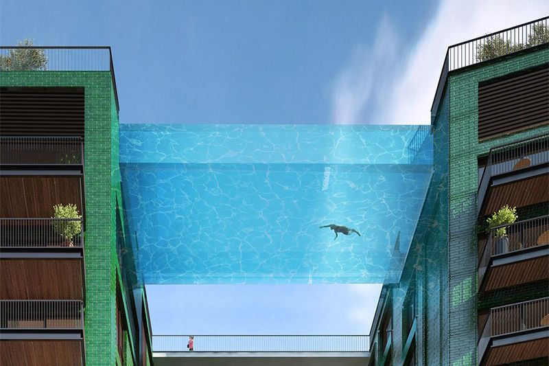 This Glass-Bottomed Swimming Pool Bridges Two Buildings ...