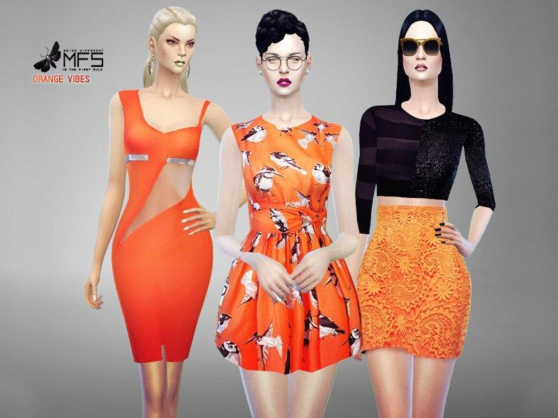 MFS Orange Vibes Collection | Sims 4 (CC) | Sims 4, Sims 4