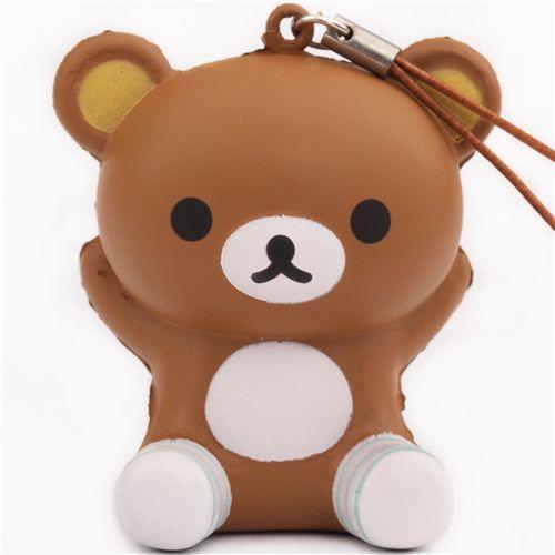Rilakkuma brown bear with socks squishy cellphone charm 1