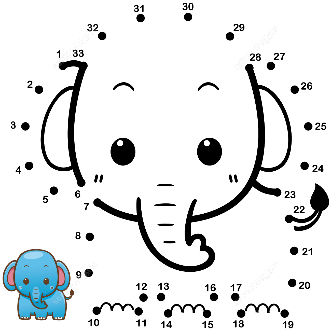 Baby Elephant Coloring Pages For Kindergarten