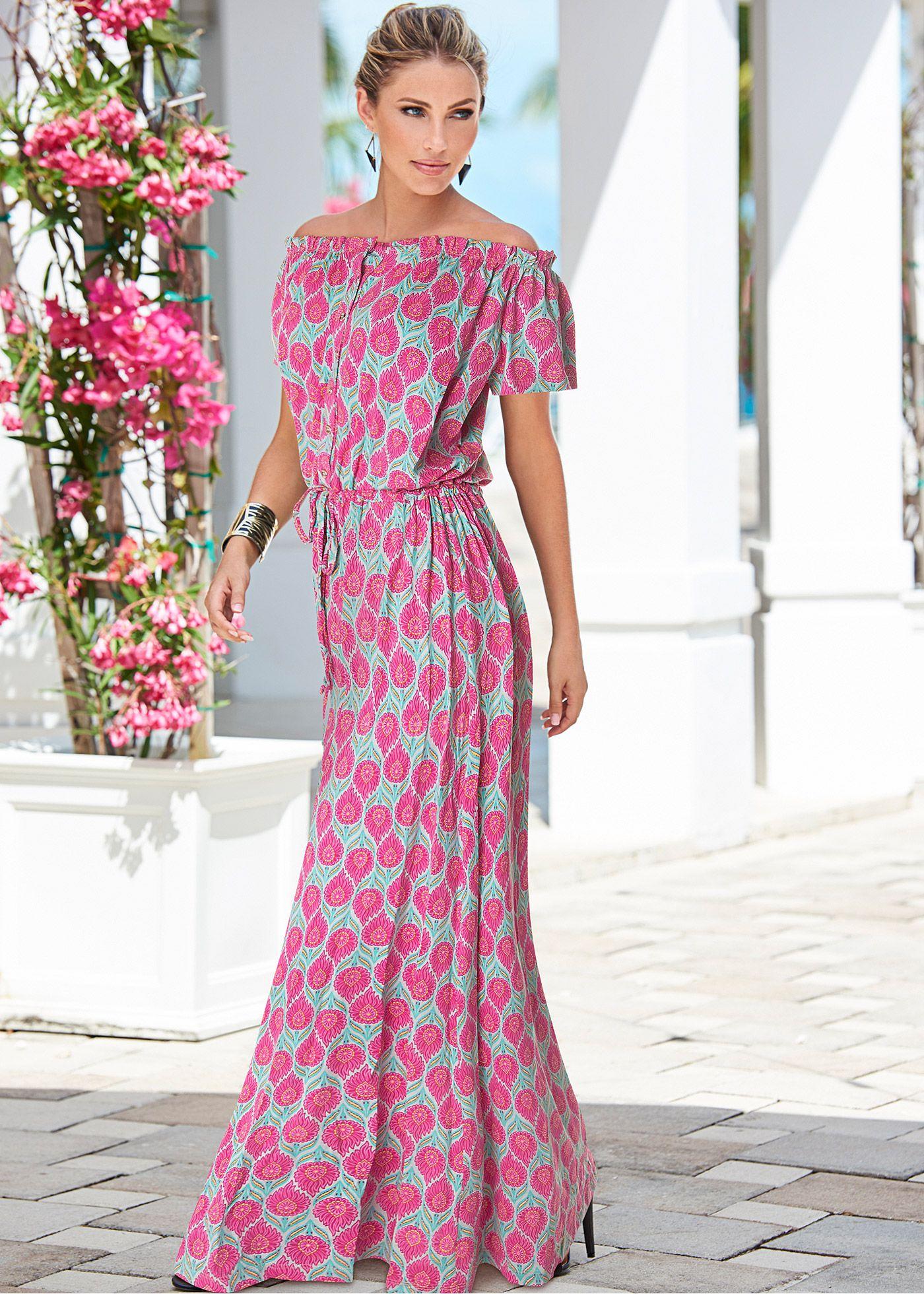 10cefb515 Vestido longo azul pink estampado encomendar agora na loja on-line bonprix.de  R  129
