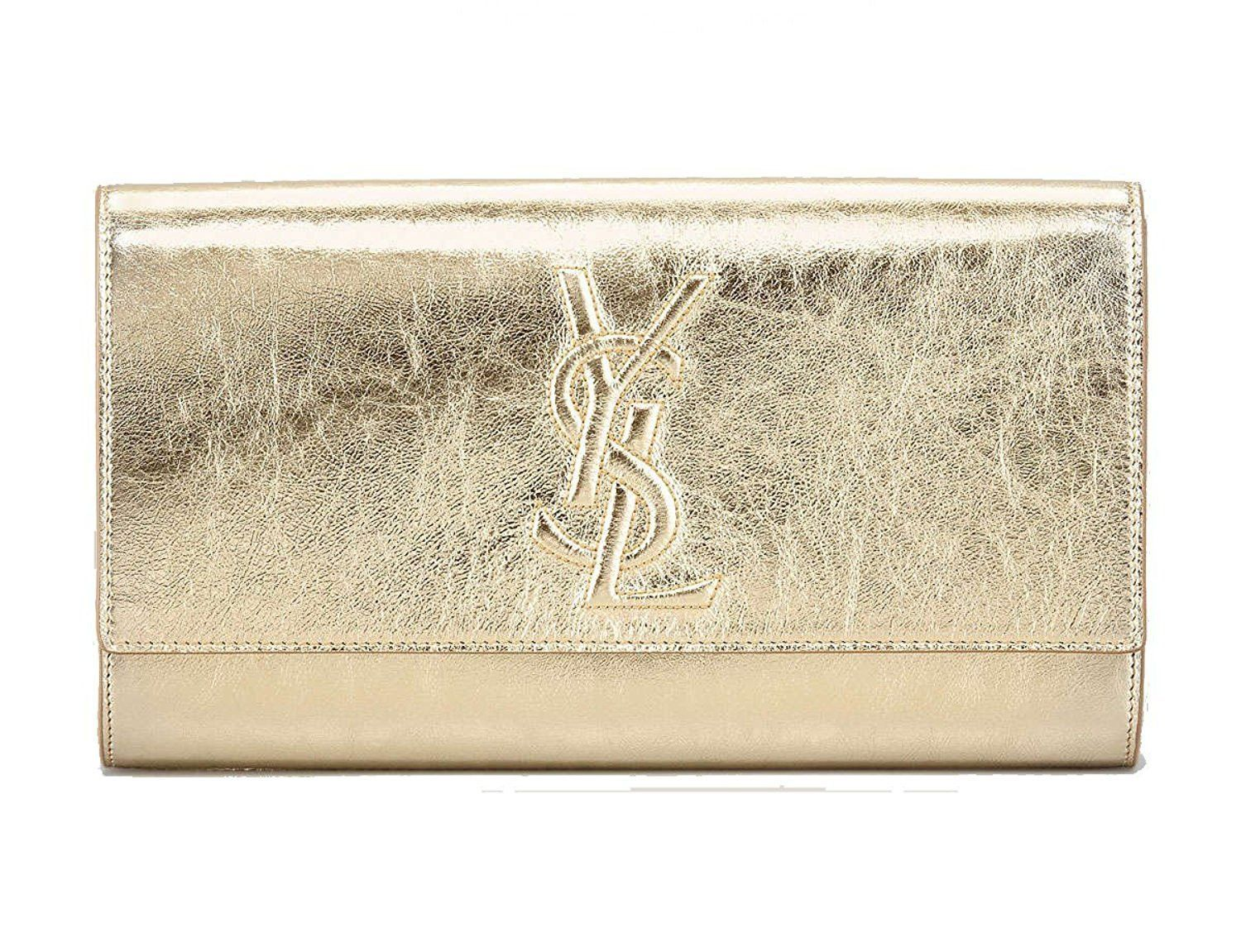 Yves Saint Laurent YSL Sac Belle du Jour Gold Metallic Leather Evening Bag  Clutch 361120 2cecea20398c4