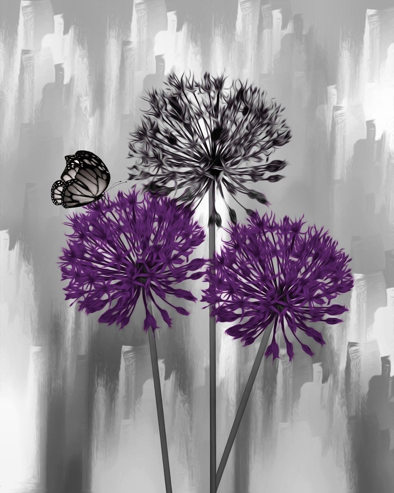 Purple Gray Home Decor Floral Butterfly Wall Art Matted Picture Status Available Red Wall Art Grey Wall Art Red Painting