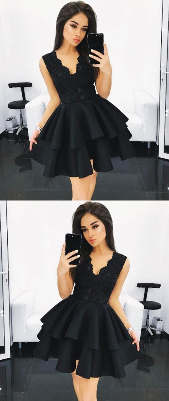 Black V Neck Lace Homecoming Dress,Ruffles Short Prom Dress