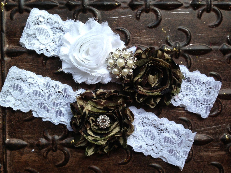 Camo Wedding Garter Set Bridal White Lace Toss