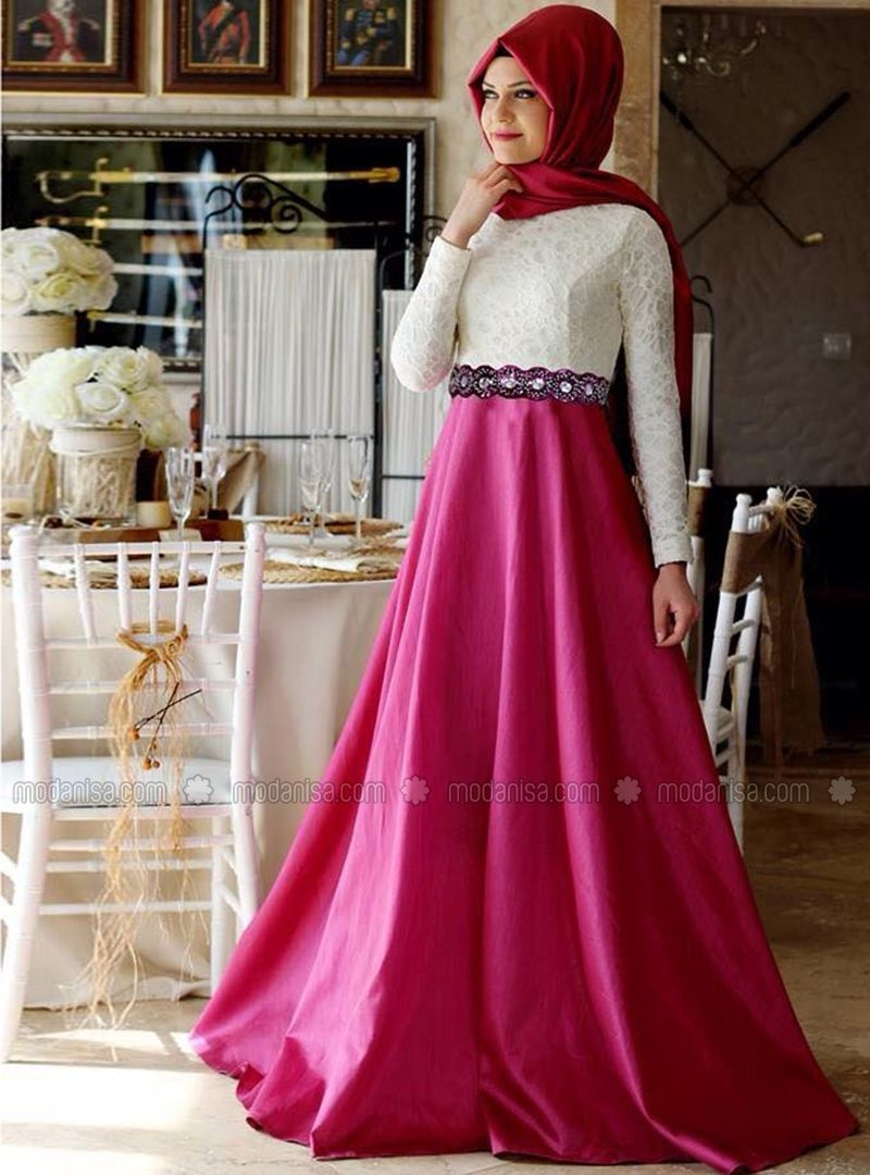 Tuana Evening Dress Pink Gamze Polat Modanisa Gaun Baju Muslim Pesta