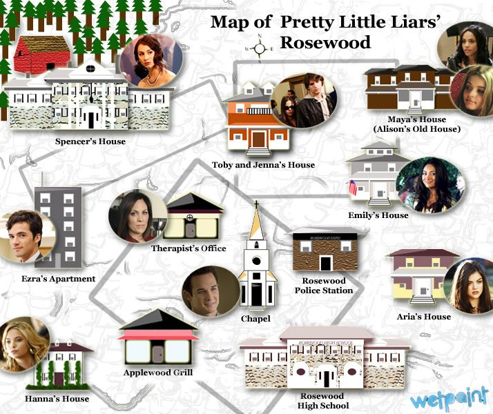 The little town of Rosewood. Except Alison and Spencer's house is supposed  to be directly … | Pretty little liars spoilers, Pretty little liars, Pretty  little lairs
