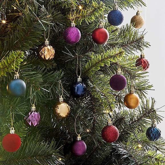 Pack Of 16 40mm Highland Luxe Baubles Dunelm 2 50 Christmas Decorations Christmas Tree Decorations Tree Decorations