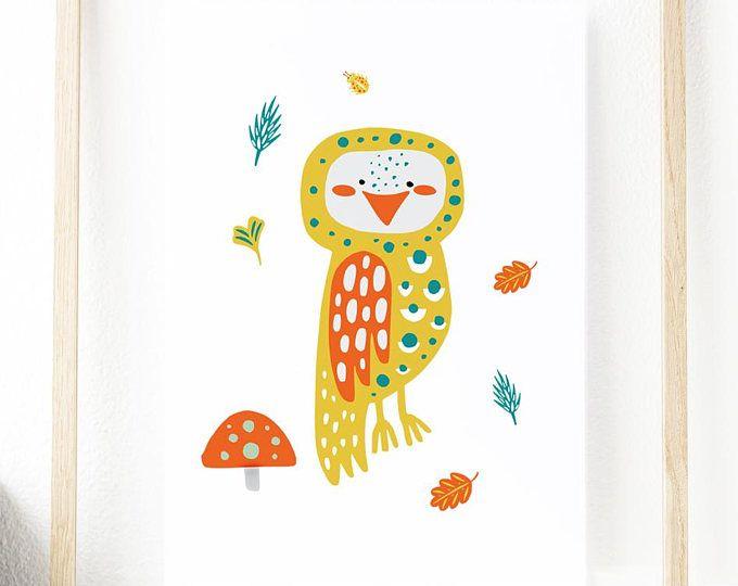 Art Print,Owl,Woodland Animal Nursery Print,Home Decor,Gifts For Children