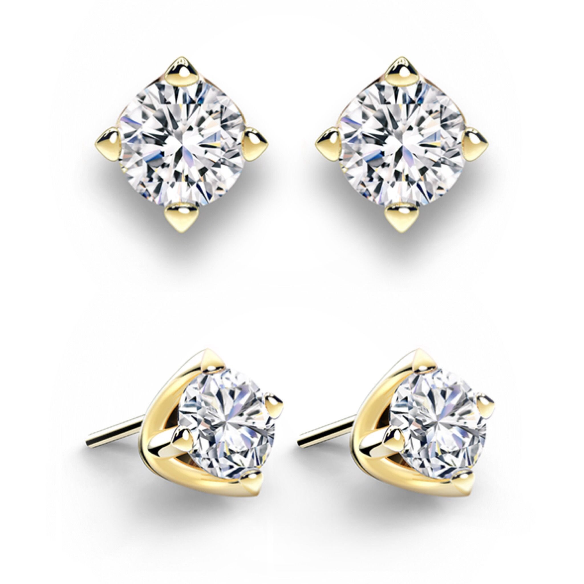 diamond gold ct certified earrings princess white colorless cut pin solitaire w t igl