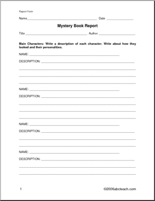 Book Report Form Mystery Primary Elem To Go With Any