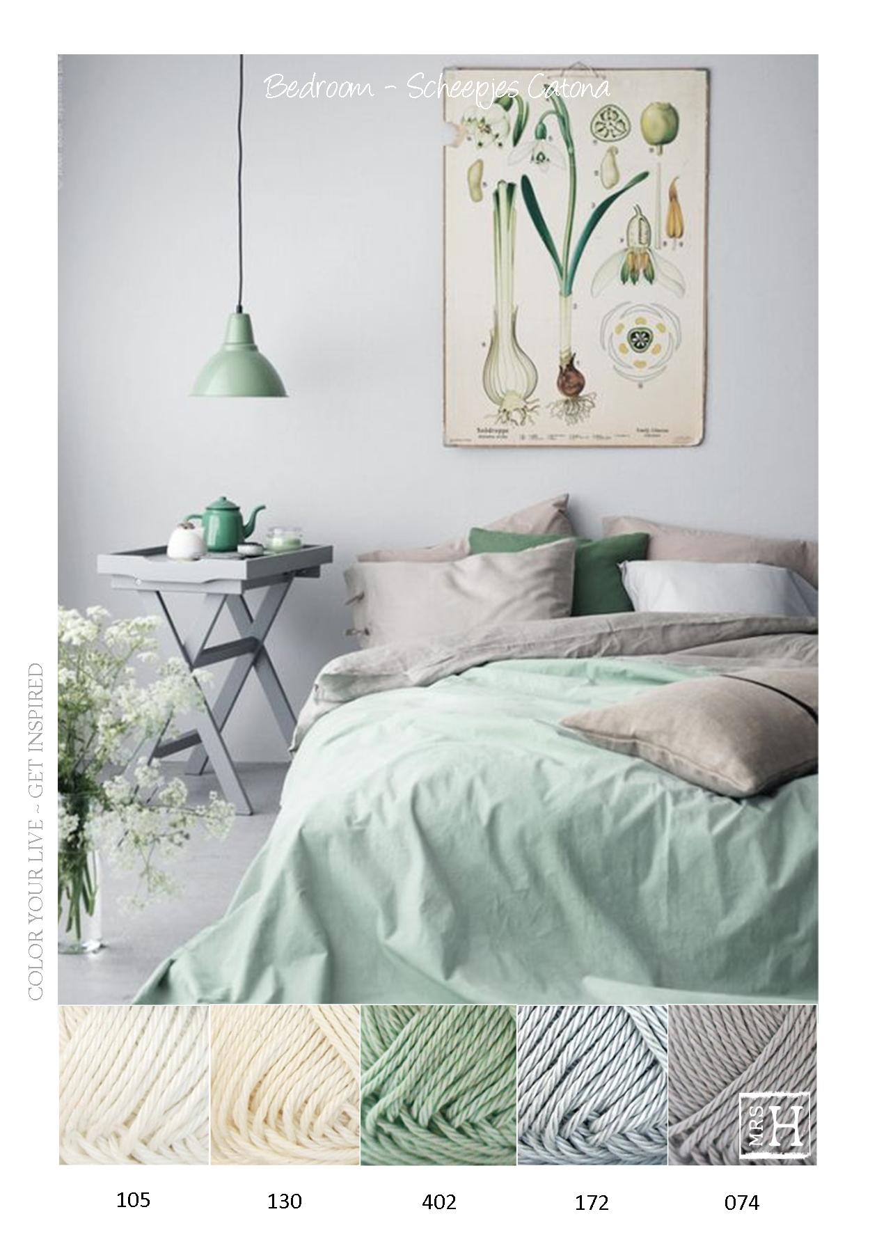 Kleurpalet slaapkamer / Scheepjes Catona - Crème - groen en grijs ...