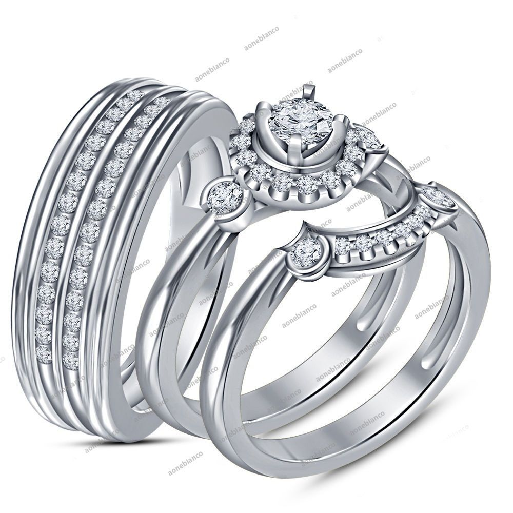 VVS1 Dimaond 925 Sterling Silver Round His & Her Wedding