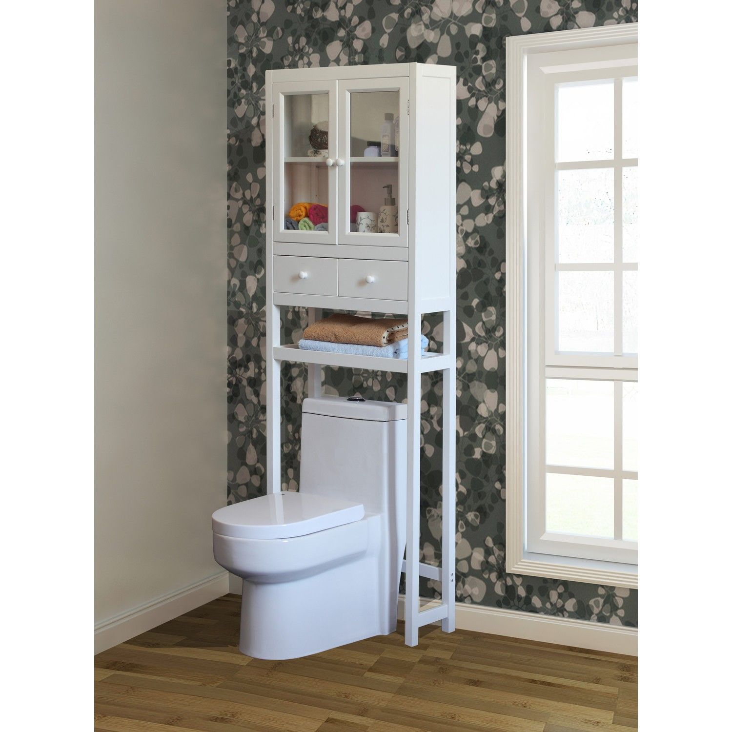 Rustic bathroom free standing shelf unit that goes over for Bathroom over the toilet shelf