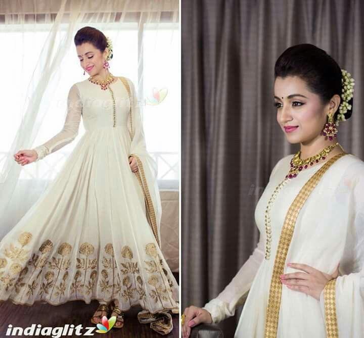 f1005ebeea trisha in white anarkali Indian Anarkali Dresses