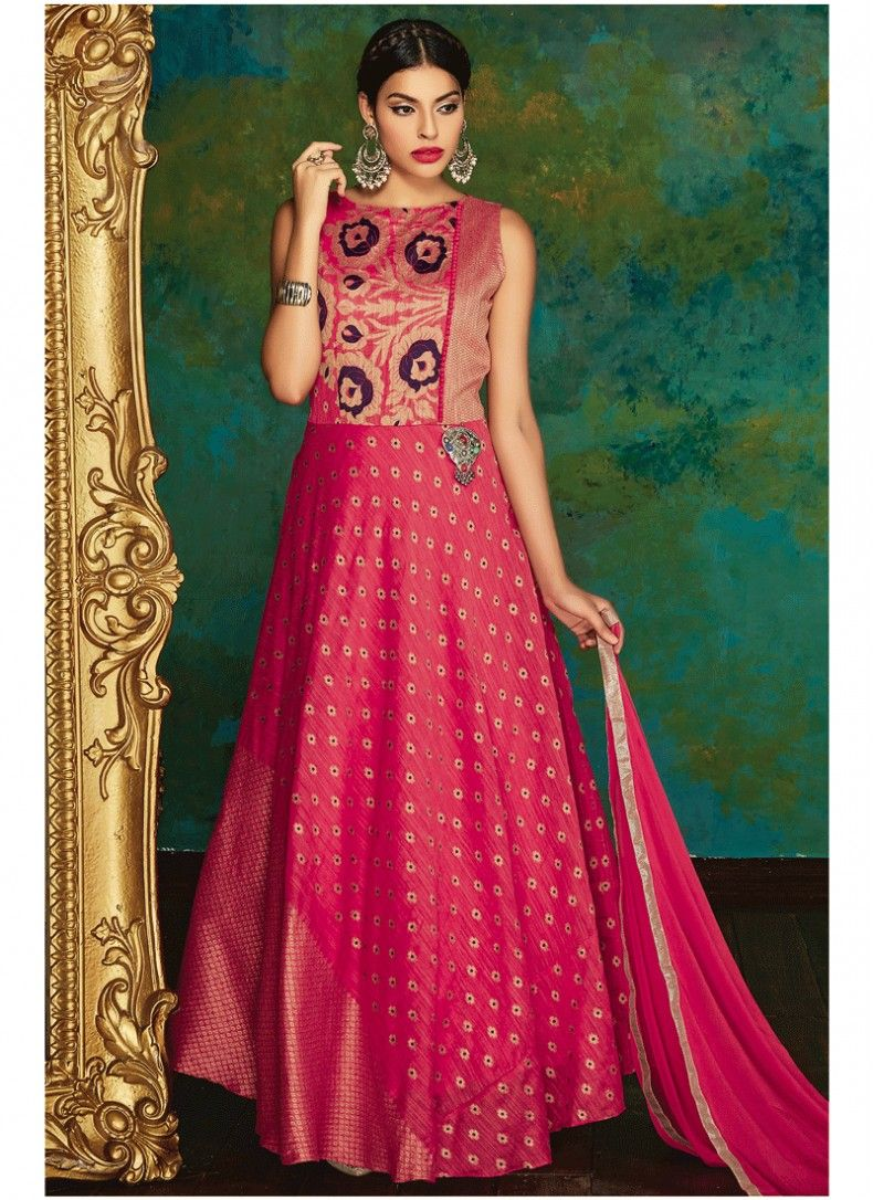 55b67b7a7ac Delightful Hot Pink Embroidered Chiffon Designer Floor touch Anarkali suit
