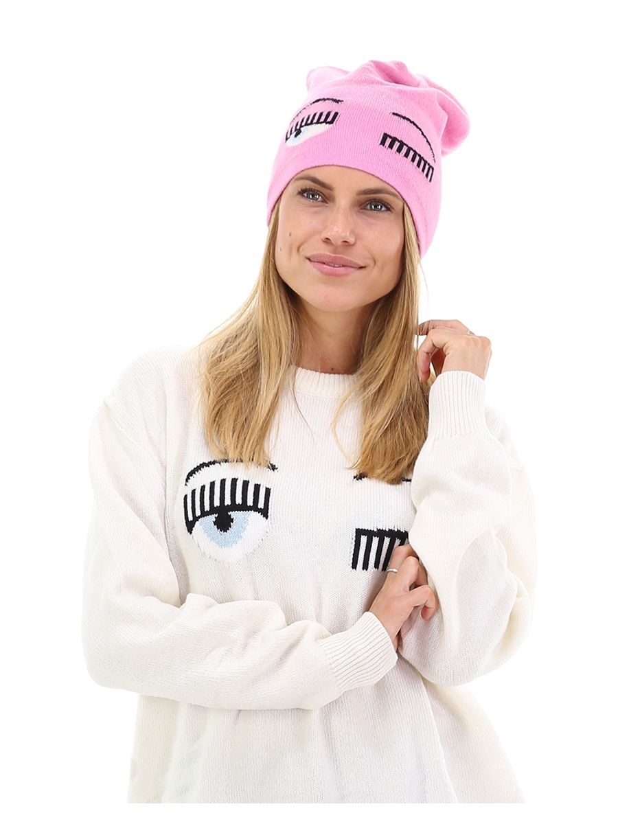 Cappello in lana merino con logo frontale applicato. - Cappello Rosa Chiara  Ferragni b7ef56747447