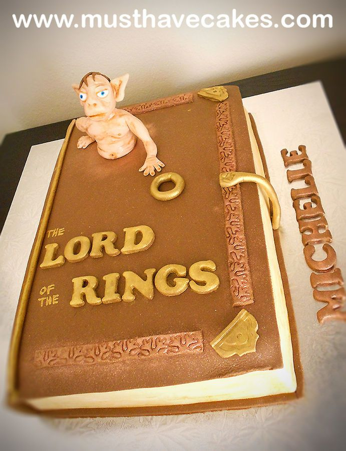 Lord Of The Rings Fondant Book Cake | Book cake, Cake ...