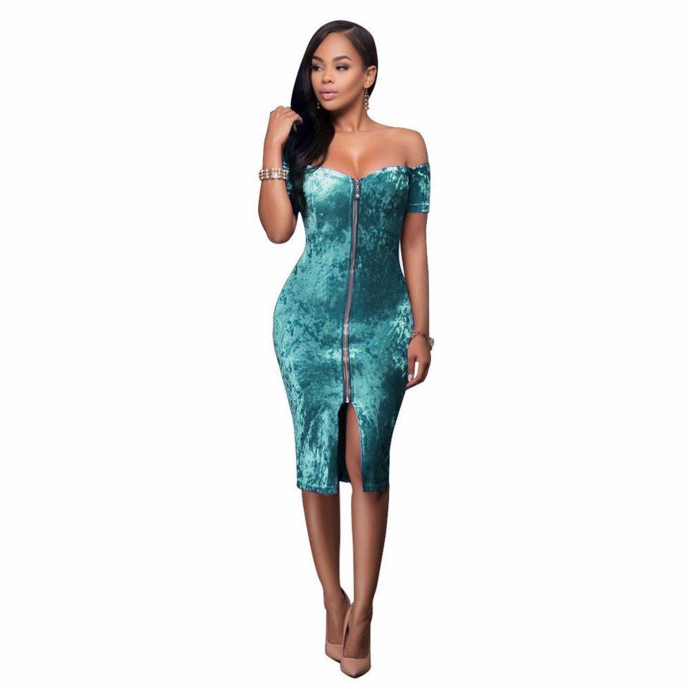 25716f77ec New Arrival Women Velvet Dress Off The Shoulder Zipper Front Bodycon ...