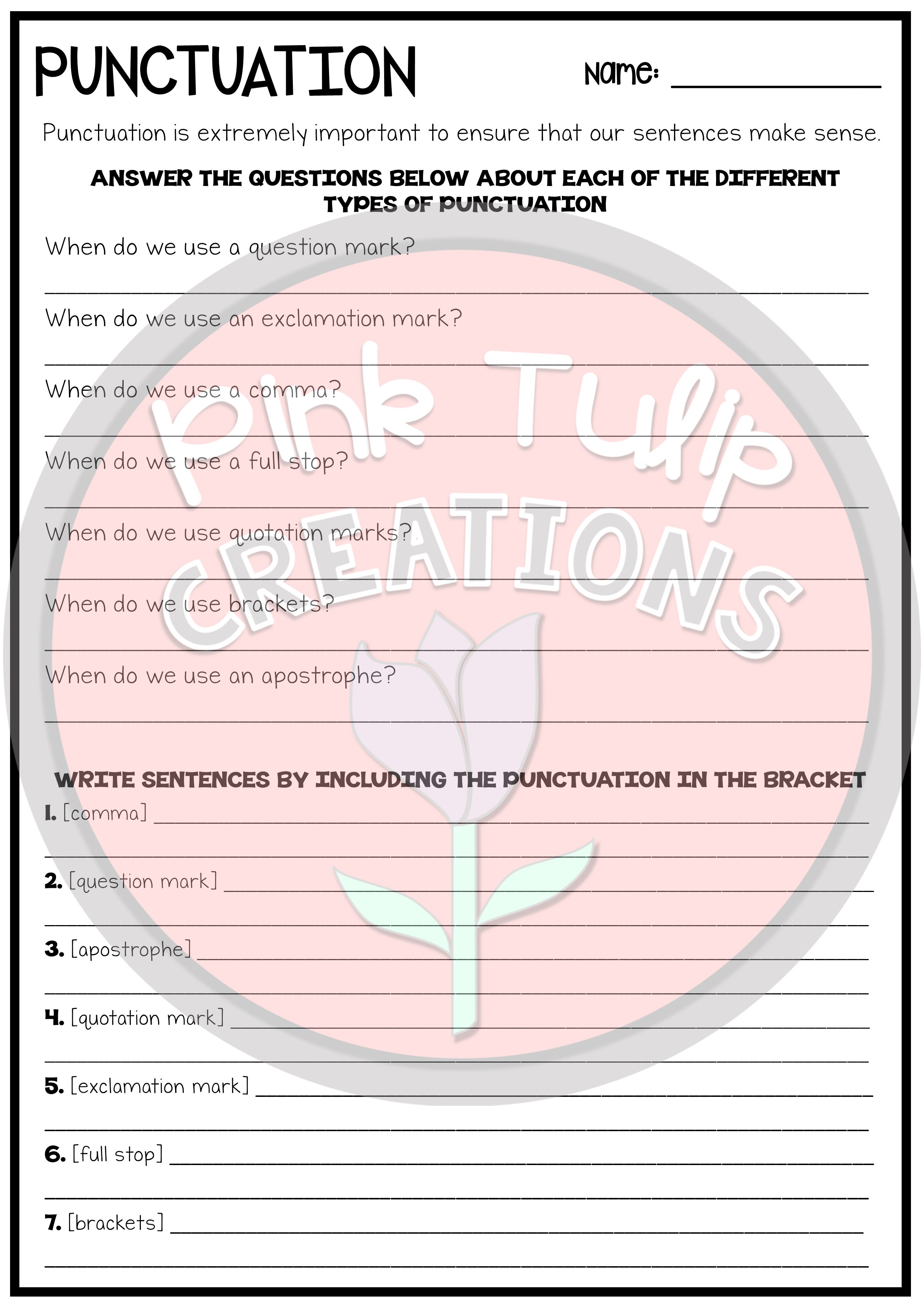 Using Punctuation Worksheets
