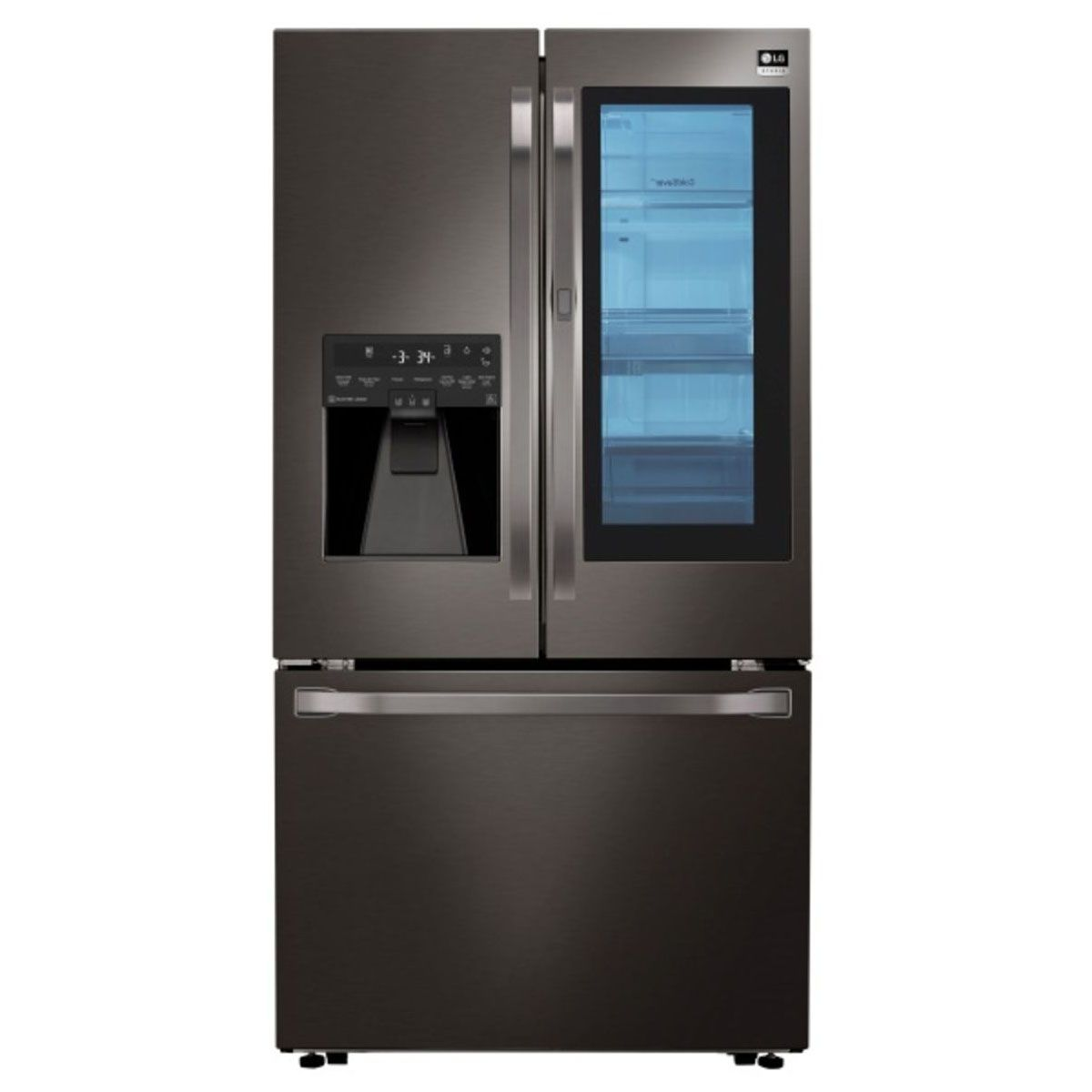 Bringing innovation and quality design together, this black stainless steel LG Studio refrigerator with InstaView Door-in-Door from RC Willey will make even the most beautifully crafted kitchen more stunning.