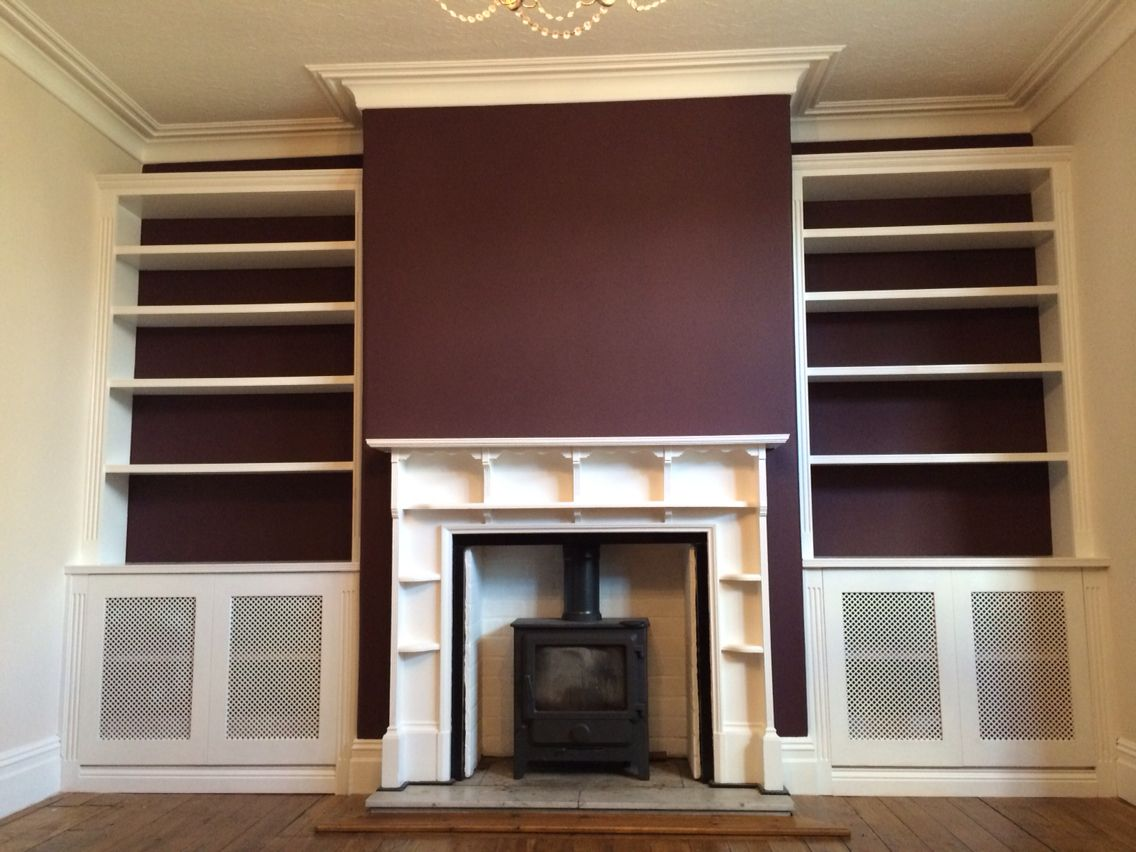 farrow ball brinjal on the feature wall these bookcases have been designed and installed - Farrow And Ball Brinjal