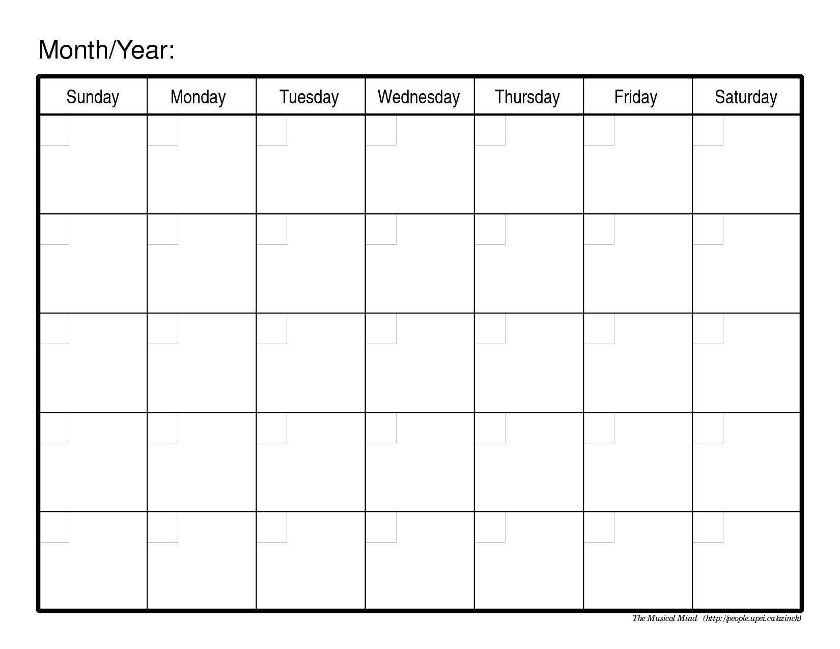 Pdf Image Templates Calendars Monthly Calendar Template Pdf