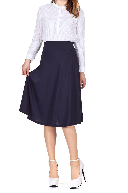 748ef370cf Stretch High Waist A-line Flared Long Skirt (S