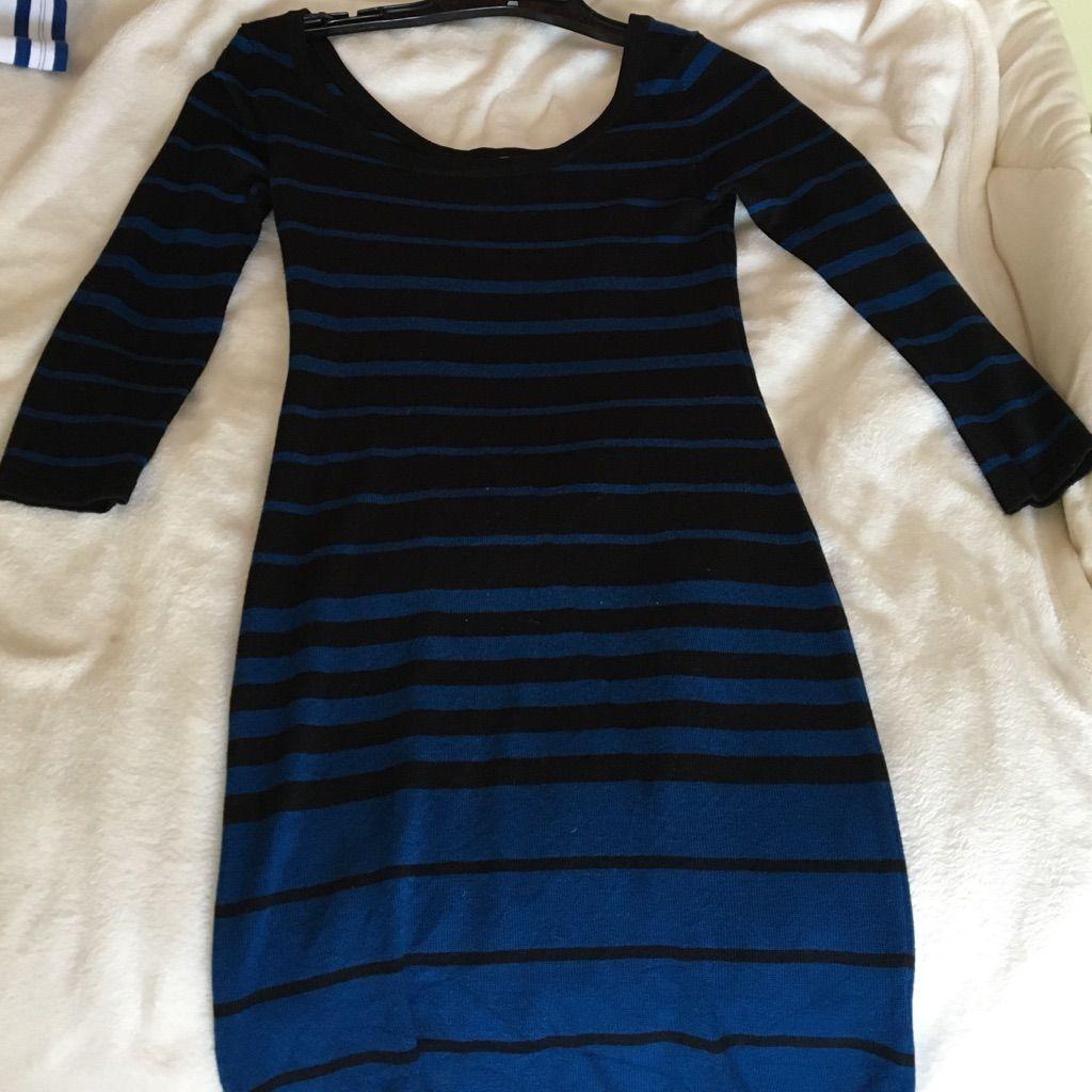 Blue & Black Striped Bodycon