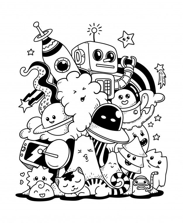 Doodle ilustración de arte   Premium Vector #Freepik #vector #caracter #dibujos-animados #garabato #dibujo