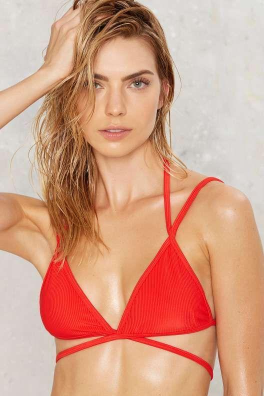 94eaf6d443 Nasty Gal Alina Mix   Match Strappy Bikini Top - Red - Worn in the U.S.A.