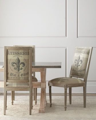 """Fowler"" Dining Table & ""Fleur-de-Lis"" Side Chair by Bernhardt at Horchow."