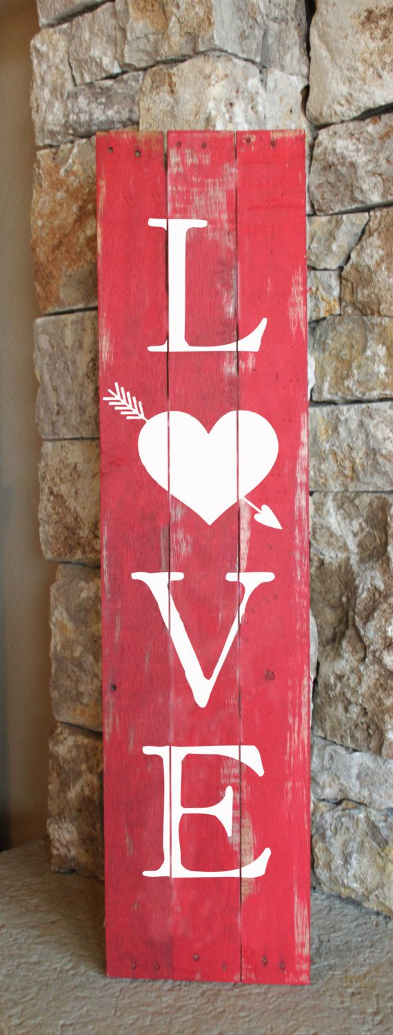 love with heart arrow reclaimed wood sign red white romantic home decor valentines day party ideas sweetest day gifts for girlfriend - Valentine Signs