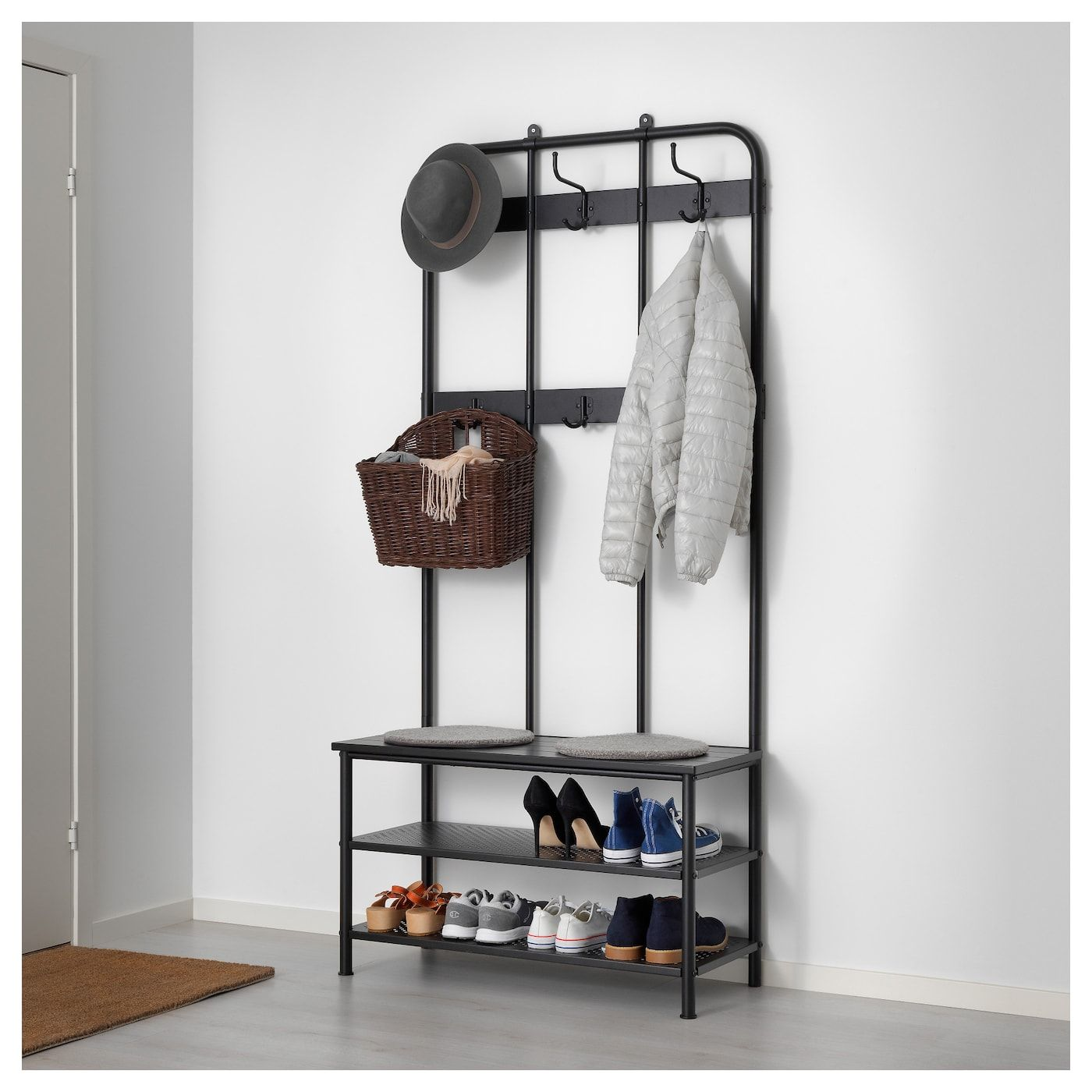 Pinnig Coat Rack With Shoe Storage Bench Black 76 In 2020