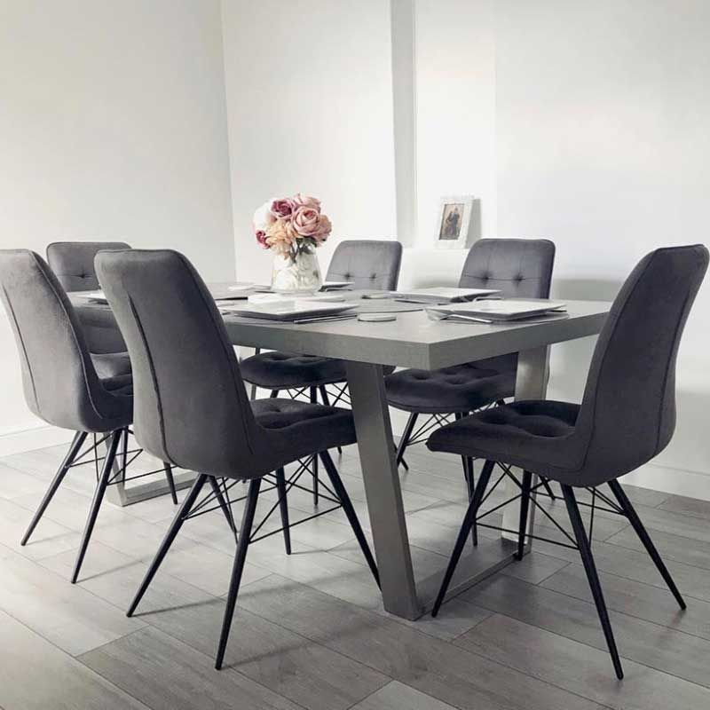 Halmstad Dining Table And 6 Hix Chairs Grey Dining Sets Dining Room Grey Dining Room Table Grey Dining Tables Modern Dining Table
