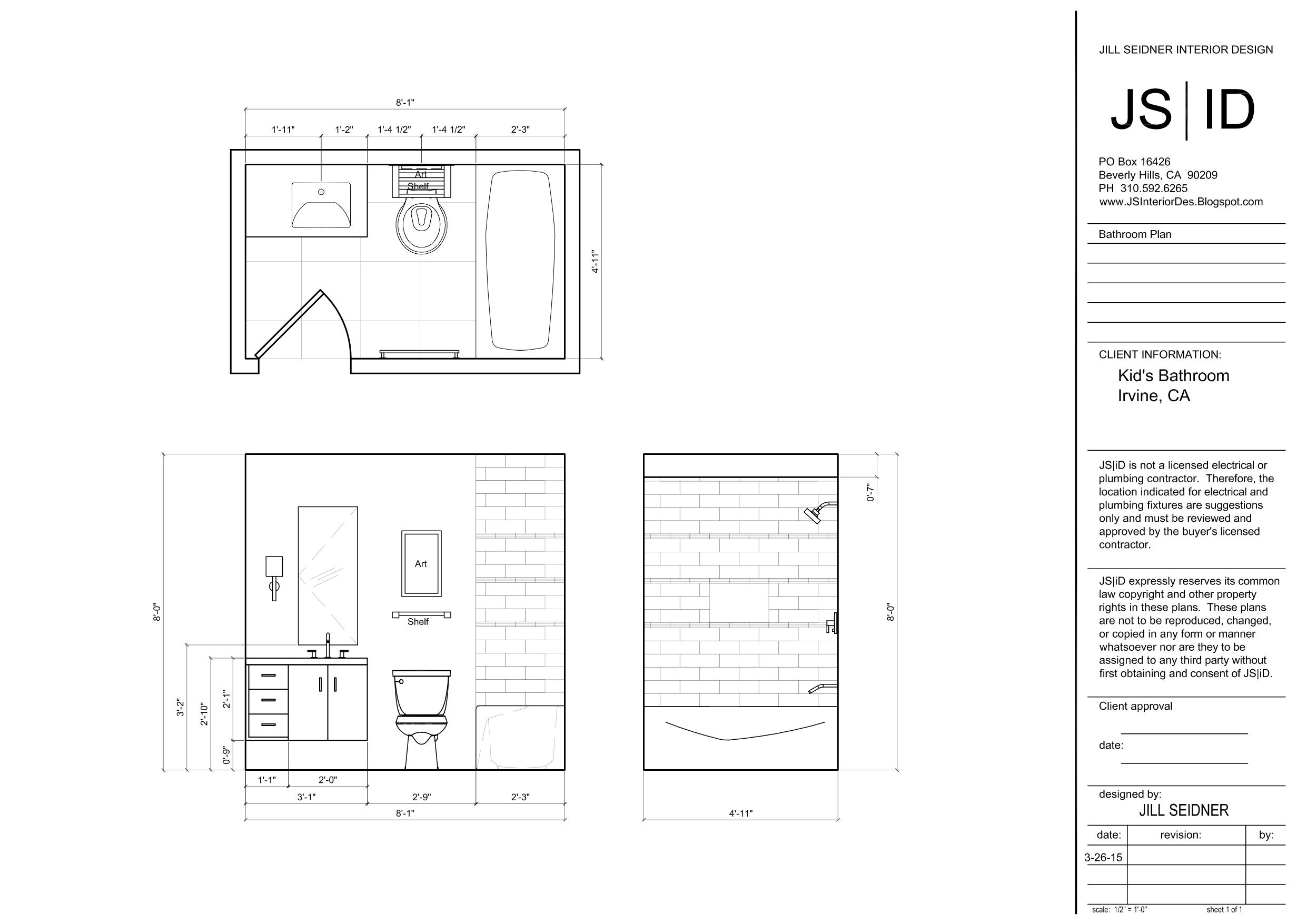Bathroom drawings design - Irvine Ca Residence Kid S Bathroom Plan Elevation Drawing