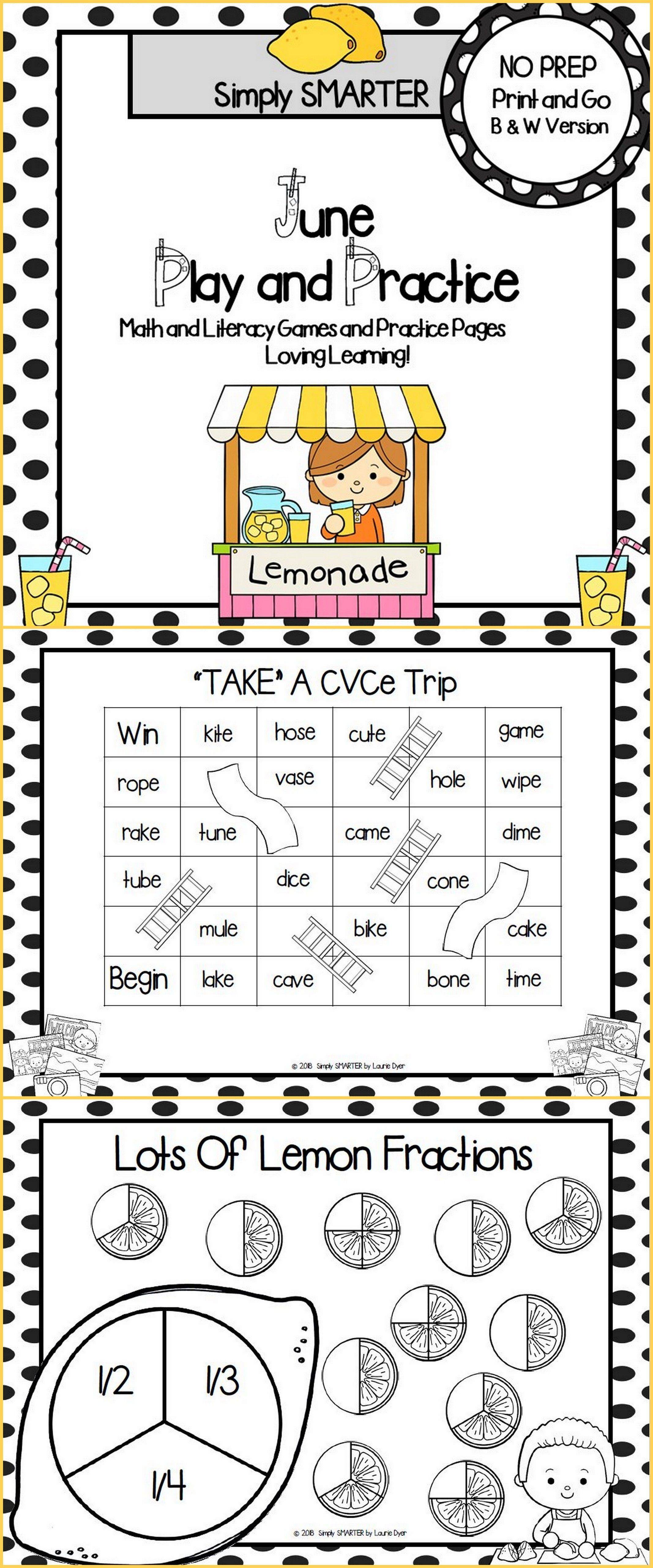 June Play And Practice No Prep Math And Literacy Games And Practice Pages