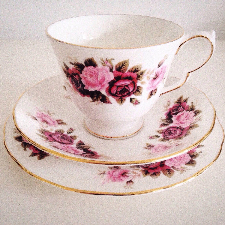Pretty pink bone china tea cups. Such a guilty pleasure