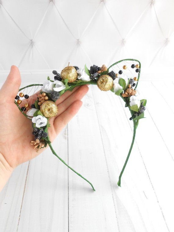 Cat costume Floral cat ears headband White black gold flower crown Birthday  outfit women Cat lover g baf4c07399f