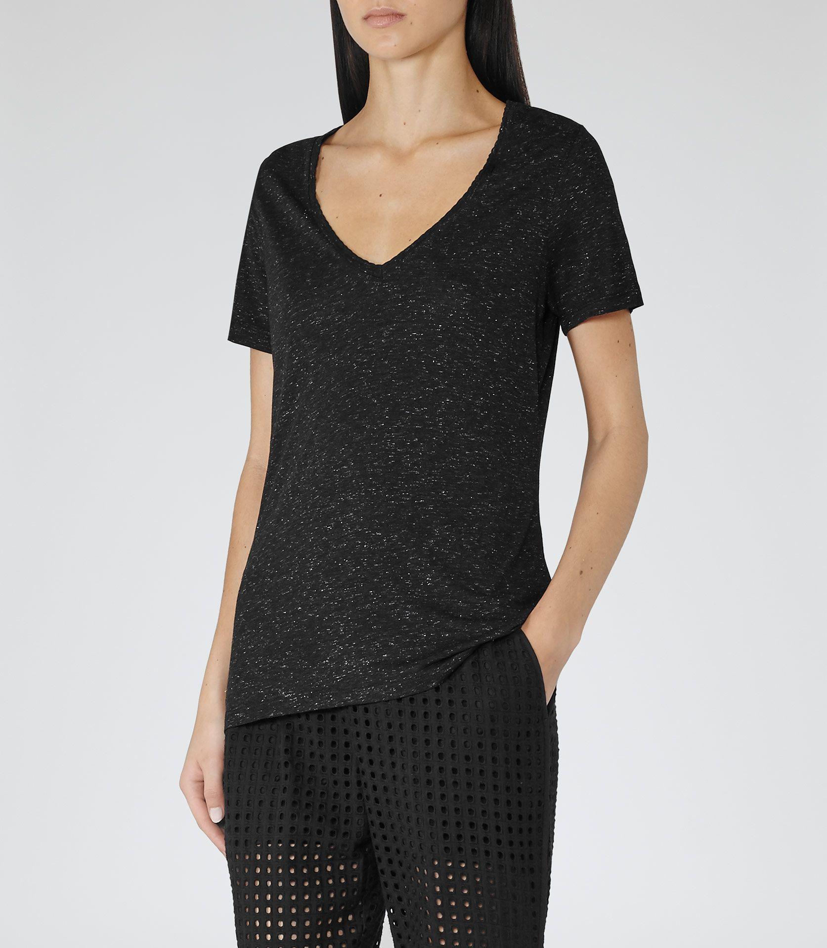 Black t shirt reiss - Womens Black Silver V Neck T Shirt Reiss Arlen
